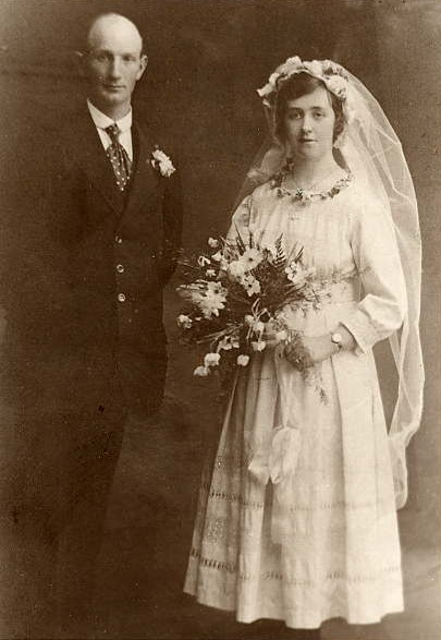Wedding of George Russell and Elizabeth Ellen McCann Year: 1919 Place Name: Belfast, Northern Ireland The wedding took place at St. Bridget's Church