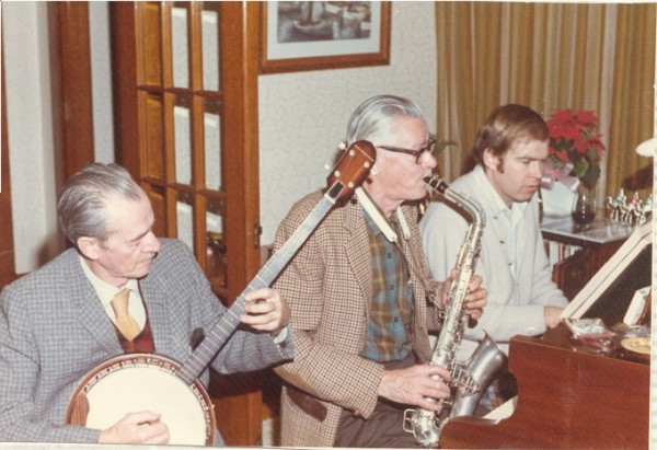 Jam Session Place Name: Moose Jaw Image Source: George Seaborn L-R: Trevor Seaborn, Ron Seaborn, Ted Seaborn, playing music in our home. (Ron Seaborn is Trevor's older brother).