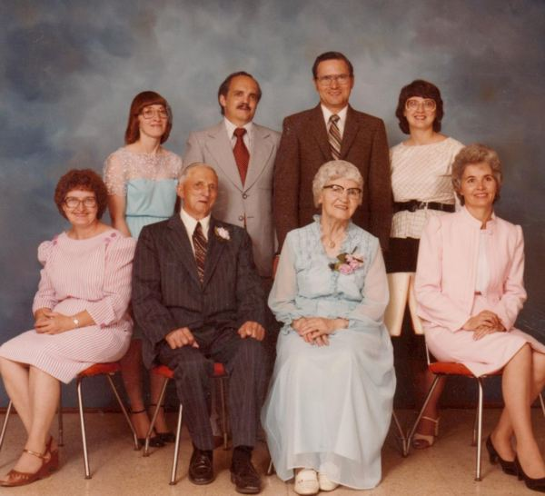 Wilfred & Irma Start & Family Year: 1984 Family (L/R) Leona (seated), Joyce, Donn, Harold, Dolores & Elaine (seated)