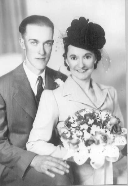 Wedding of Raymond and Bessie Year: 1942 Raymond married Elisabeth Ruth (Bessie) McGrath, a teacher who had boarded at the Steward's, on October 12, 1942. Up until that time not a bushel of grain had been threshed.
