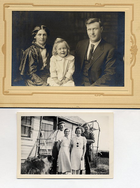 William Beaton Family Top Florence, Lawence, William Beaton taken 1914 at J. McCarthy Studio, Saskatoon Bottom: William, Florence, Elizabeth, William Beaton taken 1936