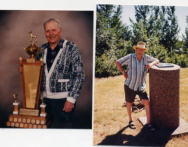 "Lawrence (Larry) Beaton left: Receiving Gordon Lund Trophy 1990 right: Larry at ""Larry Beaton Park"" - Broderick Reservoir July 2000."