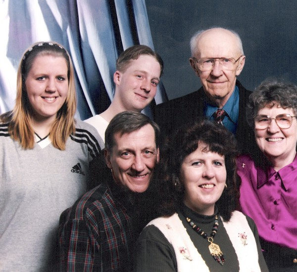 Hansons and Chizeks Year: January 1998 : Seated: Ted Hanson, Joan Hanson. Standing: Pamela Hanson, Chris Hanson, Ab Chizek, Beth Chizek.