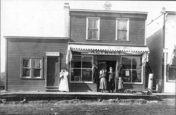 Tracy's General Store Year: CA. 1905 Place Name: Theodore Image Source: Not Known A.C. Tracy general store, one of the first businesses in Theodore. Mr Tracy was one of the first postmasters. The original store was located 2 miles east of Theodore, and the store in this picture was situated at the present site of the Cornerstone Credit Union in Theodore.