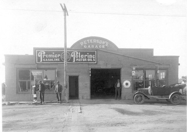 Peterson's Service Station Year: 1924 Place Name: Theodore Image Source: Not Known Chris Peterson owned one of the first service stations in the Village, and this location is at the present site of the Theodore Historical Museum (CPR Station). Later they relocated their garage to what is now the present site of D & S Restaurant along highway 16.The present renovated restaurant facility is located in the original Peterson's garage building. The Peterson family sold the garage to new owners around the late 1960's or early 1970's and it continued to operate as a service station for about 20 more years.