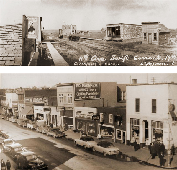 Swift Current, Saskatchewan Top: Swift Current, 1905 Bottom: Swift Current, c. 1950