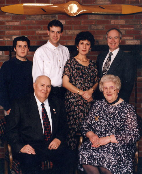 Ruth & Chuck's 50th Wedding Anniversary Year: 1995 Place Name: Wetaskiwin, AB Sinclair, Richard, Kristine, Jack, Ruth, Chuck Watson - November 1995